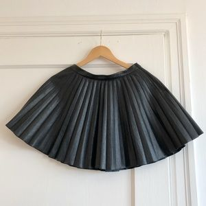 Black faux leather pleated skater skirt